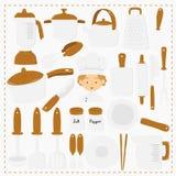 Διανυσματικό σύνολο εργαλείων αρχιμαγείρων και κουζινών διανυσματική απεικόνιση