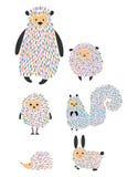 Διανυσματικό σύνολο ζώων και πουλιών κινούμενων σχεδίων Τυποποιημένοι δασικοί κάτοικοι άγρια περιοχές συλλογή&sigma απεικόνιση πα Στοκ Εικόνες
