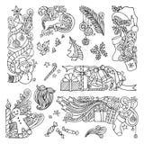 Διανυσματικό σύνολο διακοσμήσεων Χριστουγέννων doodles που απομονώνεται στο άσπρο υπόβαθρο διανυσματική απεικόνιση