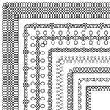 Διανυσματικό σύνολο διακοσμητικών βουρτσών με το διακοσμητικό σχέδιο διανυσματική απεικόνιση