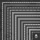 Διανυσματικό σύνολο διακοσμητικών συνόρων και πλαισίων γωνιών σε ένα υπόβαθρο πινάκων κιμωλίας Στοκ Φωτογραφίες