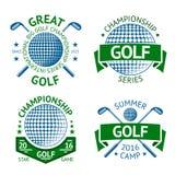 Διανυσματικό σύνολο διακριτικών γκολφ, προτύπων λογότυπων, κ.λπ. Με τη λέσχη και τη σφαίρα Στοκ εικόνα με δικαίωμα ελεύθερης χρήσης