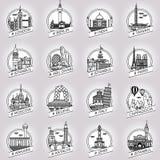 Διανυσματικό σύνολο διακριτικών οικοδόμησης πόλεων και χωρών ιστορικό Στοκ φωτογραφία με δικαίωμα ελεύθερης χρήσης