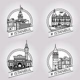 Διανυσματικό σύνολο διακριτικών οικοδόμησης της Ιστανμπούλ ιστορικό Στοκ εικόνα με δικαίωμα ελεύθερης χρήσης