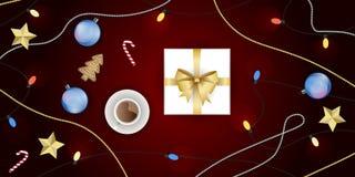 Διανυσματικό σύνολο διακόσμησης Χριστουγέννων, τοπ άποψη Στοκ Εικόνες