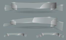 Διανυσματικό σύνολο διαφανών εμβλημάτων κορδελλών γυαλιού Στοκ Εικόνες