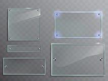Διανυσματικό σύνολο διαφανών πιάτων γυαλιού, επιτροπές με τα εξαρτήματα μετάλλων Στοκ εικόνα με δικαίωμα ελεύθερης χρήσης
