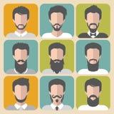 Διανυσματικό σύνολο διαφορετικού ατόμου με τις γενειάδες και moustache app τα εικονίδια στο επίπεδο ύφος Στοκ Εικόνες