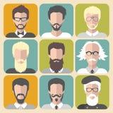 Διανυσματικό σύνολο διαφορετικού ατόμου με τις γενειάδες και moustache app τα εικονίδια στο επίπεδο ύφος Στοκ εικόνα με δικαίωμα ελεύθερης χρήσης