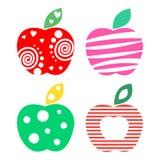 Διανυσματικό σύνολο διαφορετικών απεικονίσεων φρούτων Διακοσμητικά διακοσμητικά ζωηρόχρωμα μήλα που απομονώνονται στο άσπρο υπόβα Στοκ εικόνες με δικαίωμα ελεύθερης χρήσης