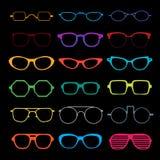 Διανυσματικό σύνολο διαφορετικών γυαλιών Στοκ Εικόνες