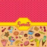 Διανυσματικό σύνολο διαφορετικών γλυκών Υπόβαθρο γλυκών Στοκ εικόνα με δικαίωμα ελεύθερης χρήσης