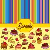 Διανυσματικό σύνολο διαφορετικών γλυκών Υπόβαθρο γλυκών Στοκ Εικόνες