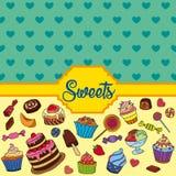 Διανυσματικό σύνολο διαφορετικών γλυκών Υπόβαθρο γλυκών Στοκ Φωτογραφίες