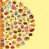 Διανυσματικό σύνολο διαφορετικών γλυκών Στοκ Φωτογραφίες