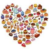 Διανυσματικό σύνολο διαφορετικών γλυκών Στοκ Εικόνες