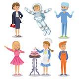 Διανυσματικό σύνολο διαφορετικών επαγγελμάτων Επάγγελμα παιδιών ελεύθερη απεικόνιση δικαιώματος