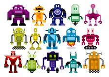 Διανυσματικό σύνολο διαφορετικών ρομπότ κινούμενων σχεδίων που απομονώνεται Στοκ Εικόνες