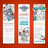 Διανυσματικό σύνολο κάθετων εμβλημάτων εκπαίδευσης κινούμενων σχεδίων Στοκ Εικόνα