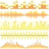 Διανυσματικό σύνολο κίτρινων υγιών κυμάτων Ακουστικός εξισωτής Υγιή & ακουστικά κύματα απεικόνιση αποθεμάτων