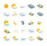 Διανυσματικό σύνολο καιρικών εικονιδίων απεικόνιση αποθεμάτων