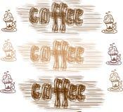Διανυσματικό σύνολο καφέ Στοκ εικόνες με δικαίωμα ελεύθερης χρήσης