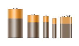 Διανυσματικό σύνολο καφετιών χρυσών στιλπνών αλκαλικών μπαταριών της διαφορετικής μπαταρίας μεγέθους για να μαρκαρίσει κοντά επάν ελεύθερη απεικόνιση δικαιώματος