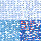 Διανυσματικό σύνολο καλλιτεχνικού υποβάθρου με τα κύματα σκίτσων ελεύθερη απεικόνιση δικαιώματος