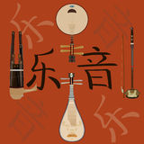 Διανυσματικό σύνολο κινεζικών μουσικών οργάνων και υποβάθρου hieroglyphics μουσικής διανυσματική απεικόνιση