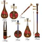Διανυσματικό σύνολο κινεζικών μουσικών οργάνων σειράς και αέρα, επίπεδο ύφος απεικόνιση αποθεμάτων