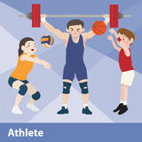 Διανυσματικό σύνολο κινούμενων σχεδίων αθλητικού αθλητισμού Στοκ Φωτογραφίες