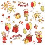 Διανυσματικό σύνολο κινούμενων σχεδίων αντικειμένων για τις κάρτες, το χαιρετισμό γενεθλίων, την ευτυχία και τη διασκέδαση διανυσματική απεικόνιση