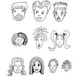 Διανυσματικό σύνολο κινούμενων σχεδίων 10 διαφορετικά αστεία πρόσωπα Στοκ Εικόνες