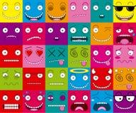 Διανυσματικό σύνολο κινούμενων σχεδίων τριάντα διαφορετικών προσώπων Στοκ Εικόνες