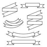 Διανυσματικό σύνολο κορδελλών γραμμών Στοκ Εικόνες