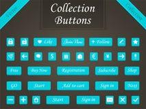 Διανυσματικό σύνολο κουμπιών και στοιχείων Ιστού για τους ιστοχώρους σχεδίου και το α Στοκ Φωτογραφίες