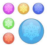 Διανυσματικό σύνολο κουμπιών με snowflake Στοκ Φωτογραφίες