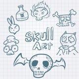 Διανυσματικό σύνολο κρανίων doodles Στοκ Φωτογραφίες