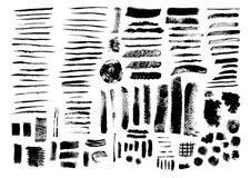 Διανυσματικό σύνολο κτυπημάτων και λεκέδων βουρτσών grunge Στοκ εικόνα με δικαίωμα ελεύθερης χρήσης