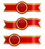 Διανυσματικό σύνολο κόκκινων κορδελλών βραβείων Στοκ Εικόνες