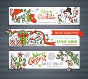 Διανυσματικό σύνολο κόκκινων, πράσινων και άσπρων οριζόντιων εμβλημάτων Χριστουγέννων Στοκ Εικόνα