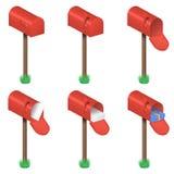 Διανυσματικό σύνολο κόκκινων ταχυδρομικών θυρίδων Στοκ εικόνα με δικαίωμα ελεύθερης χρήσης