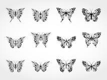 Διανυσματικό σύνολο μαύρων πεταλούδων σκιαγραφιών Στοκ φωτογραφίες με δικαίωμα ελεύθερης χρήσης