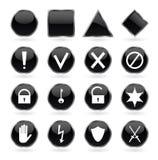 Μαύρα στιλπνά κουμπιά με την ασφάλεια, κίνδυνος, warnin Στοκ Φωτογραφίες