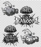 Διανυσματικό σύνολο μονοχρωματικών εικονιδίων comics Στοκ φωτογραφίες με δικαίωμα ελεύθερης χρήσης