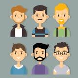 Διανυσματικό σύνολο μοντέρνων αρσενικών χαρακτήρων στο σύγχρονο επίπεδο σχέδιο Στοκ Εικόνες