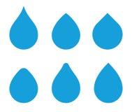 Διανυσματικό σύνολο μορφής πτώσης νερού Εικονίδια Waterdrop Πρότυπα σταγονίδιων Aqua για το λογότυπο απεικόνιση αποθεμάτων