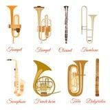 Διανυσματικό σύνολο μουσικών οργάνων αέρα που απομονώνεται στο άσπρο υπόβαθρο απεικόνιση αποθεμάτων