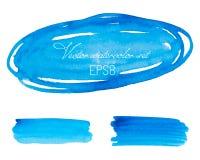 Διανυσματικό σύνολο μπλε υποβάθρων watercolor κιρκιριών τυρκουάζ βαλμένο σε στρώσεις απεικόνιση διάνυσμα μετρητών ε eps8 Στοκ Εικόνες