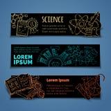 Διανυσματικό σύνολο οριζόντιων εμβλημάτων επιστήμης και εκπαίδευσης Στοκ εικόνες με δικαίωμα ελεύθερης χρήσης